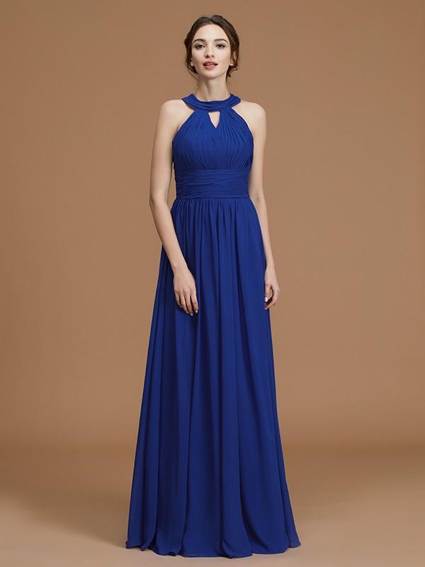 A-Line/Princess Halter Sleeveless Floor-Length Ruched Chiffon Bridesmaid Dresses