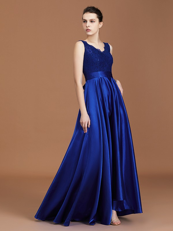A-Line/Princess V-neck Sleeveless Satin Asymmetrical Lace Bridesmaid Dress