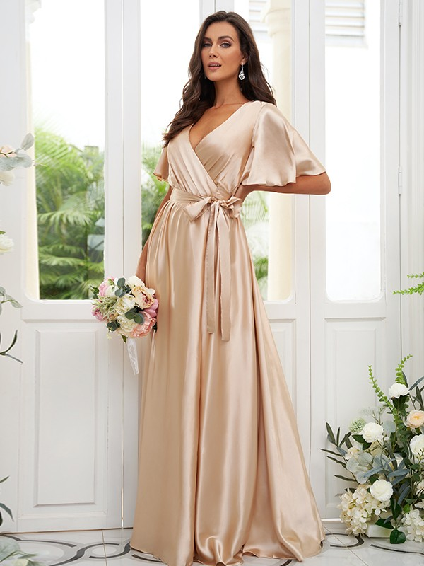 A-Line/Princess Silk like Satin Sash/Ribbon/Belt V-neck Short Sleeves Floor-Length Bridesmaid Dresses