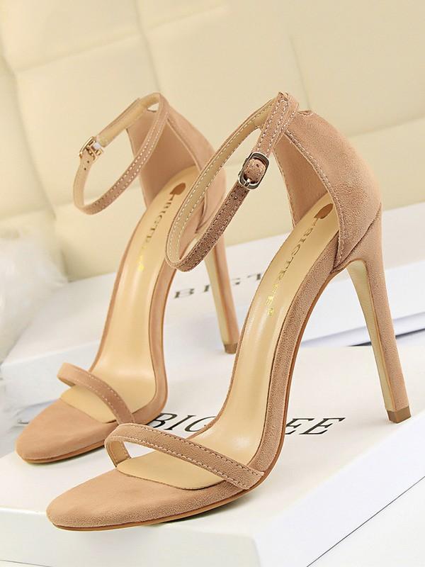Women's Suede With Buckle Peep Toe Stiletto Heel Sandals