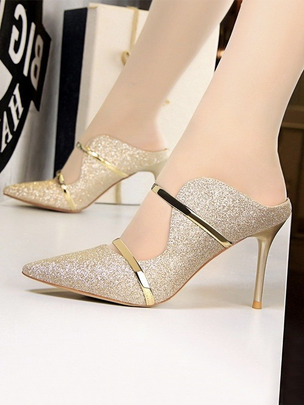 Women's Stiletto Heel Sparkling Glitter Closed Toe Sandals