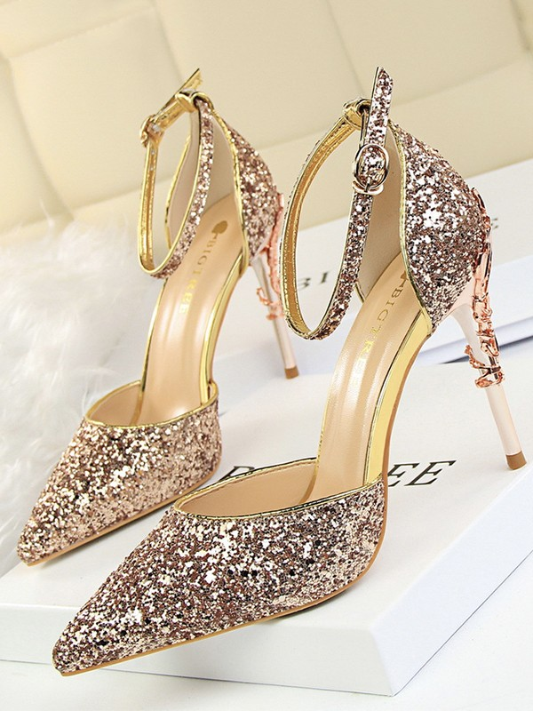 Women's Stiletto Heel Closed Toe Sparkling Glitter With Buckle Sandals