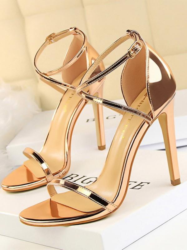 Women's Patent Leather Stiletto Heel Peep Toe Sandals