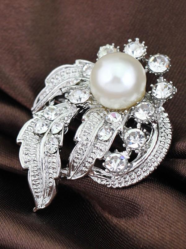 Vintage Alloy With Rhinestone/Imitation Pearl Ladies' Brooch