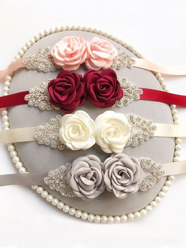 Pretty Satin Sashes With Rhinestones/Flowers
