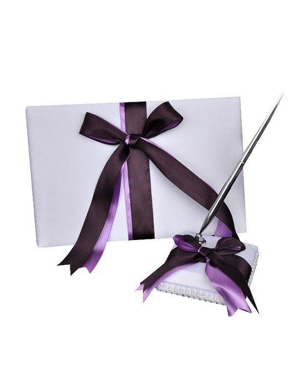 Beautiful Cloth With Bowknot Guestbook & Pen Set