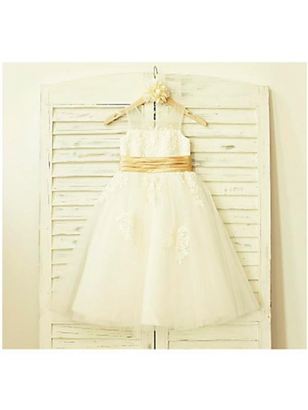 A-line/Princess Sleeveless Scoop Lace Tea-Length Tulle Flower Girl Dresses
