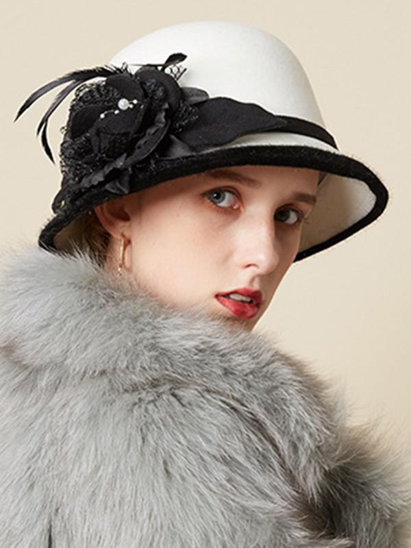 Ladies' Nice Wool Silk Flower Adjustable Floppy Hats