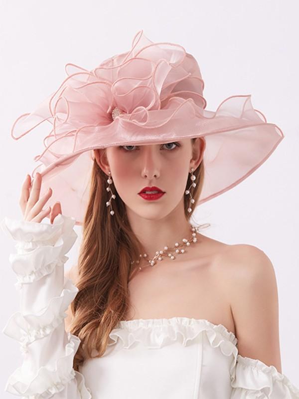 Ladies' Elegant Organza Silk Flower Adjustable Kentucky Derby Hats/Tea Party Hats