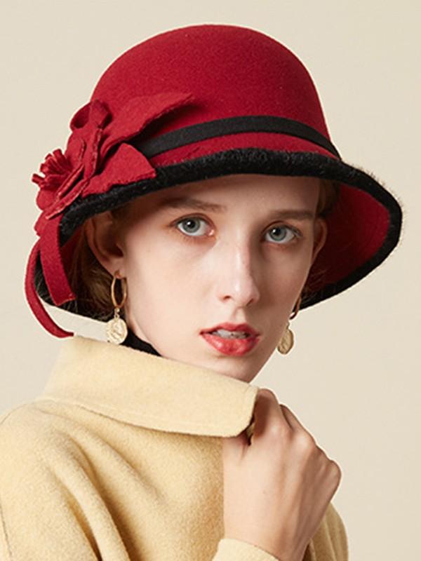 Ladies' Glamourous Wool Silk Flower Floppy Hats