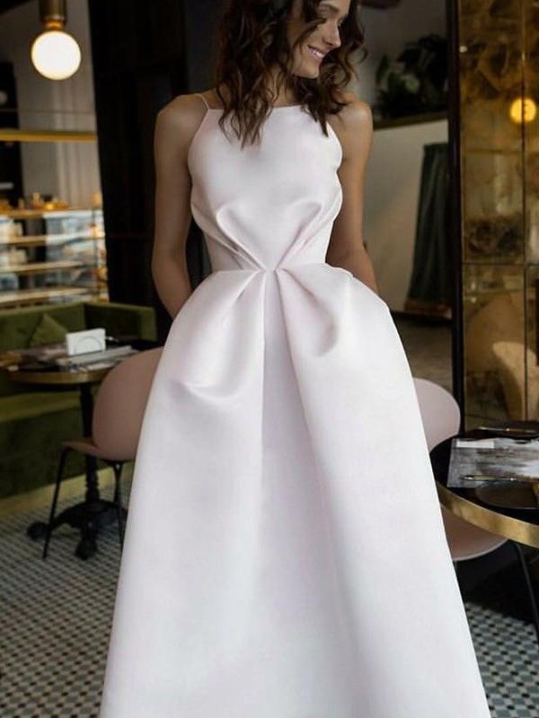 A-Line/Princess Sleeveless Halter Tea-Length Ruffles Satin Dresses