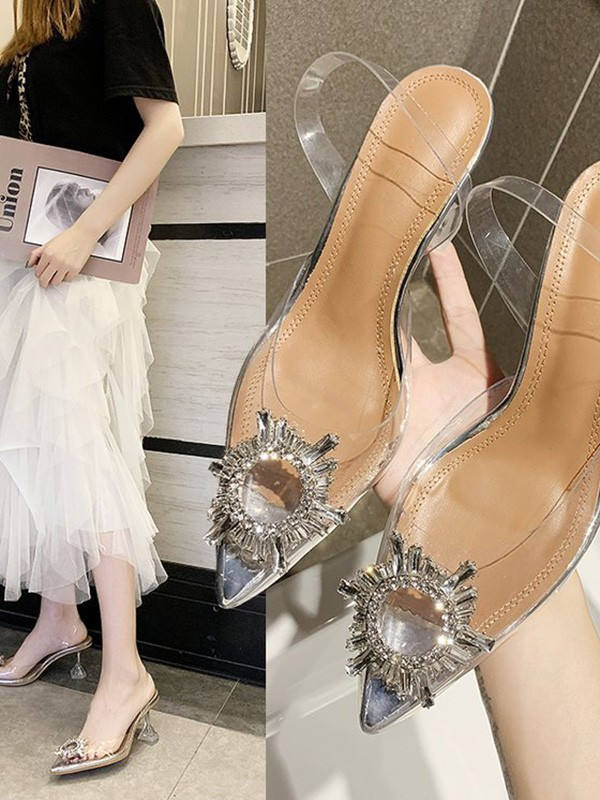 Women's Rhinestone Kitten Heel Closed Toe Sandals