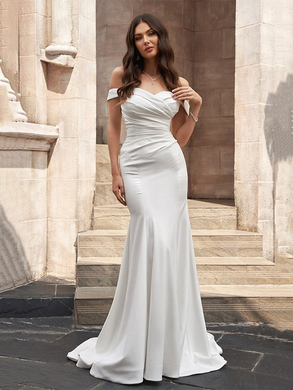 Trumpet/Mermaid Stretch Crepe Off-the-Shoulder Ruched Sleeveless Sweep/Brush Train Wedding Dresses