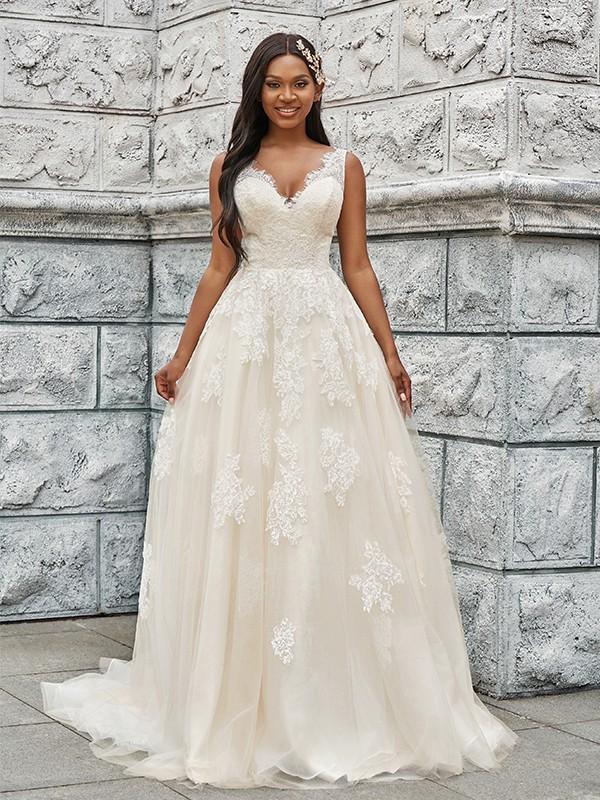 A-Line/Princess Tulle Applique V-neck Sleeveless Sweep/Brush Train Wedding Dresses