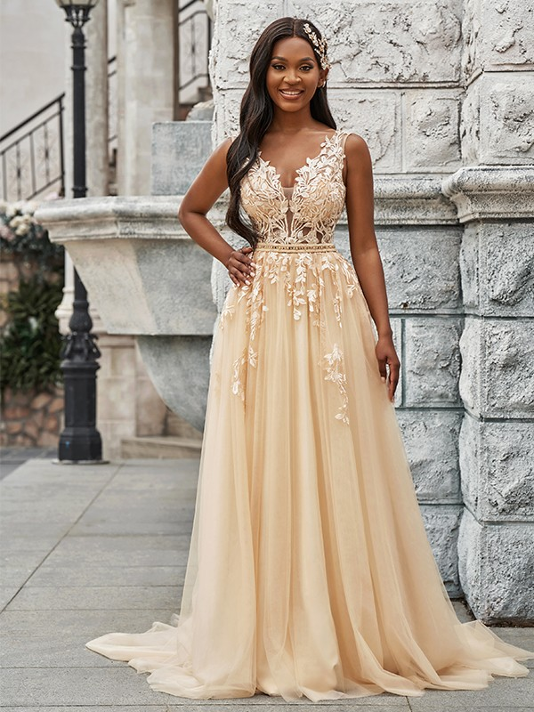 A-Line/Princess Sleeveless Tulle V-neck Applique Sweep/Brush Train Wedding Dresses