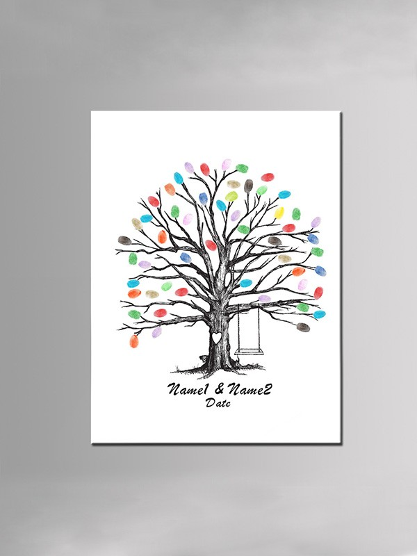 Personalized Design Canvas Fingerprint Guestbook With Ink Pad