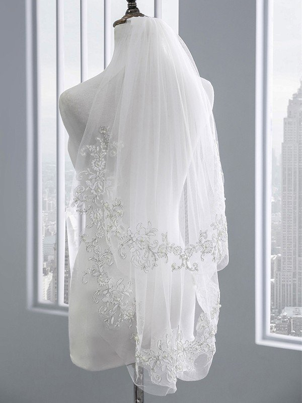 Charming Tulle With Lace Wedding Veils