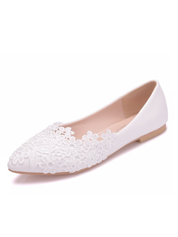 Women's PU Closed Toe With Flower Flat Heel Flat Shoes
