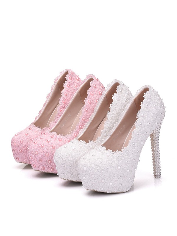 Women's PU With Flower Closed Toe Stiletto Heel Platforms Shoes