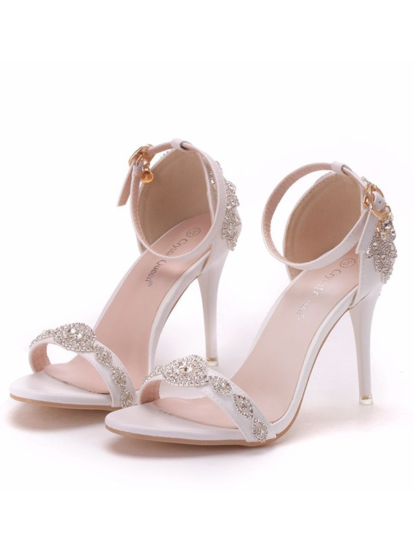 Women's PU Peep Toe With Flower Stiletto Heel Sandals