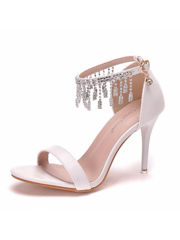 Women's PU Peep Toe With Tassel Stiletto Heel Sandals