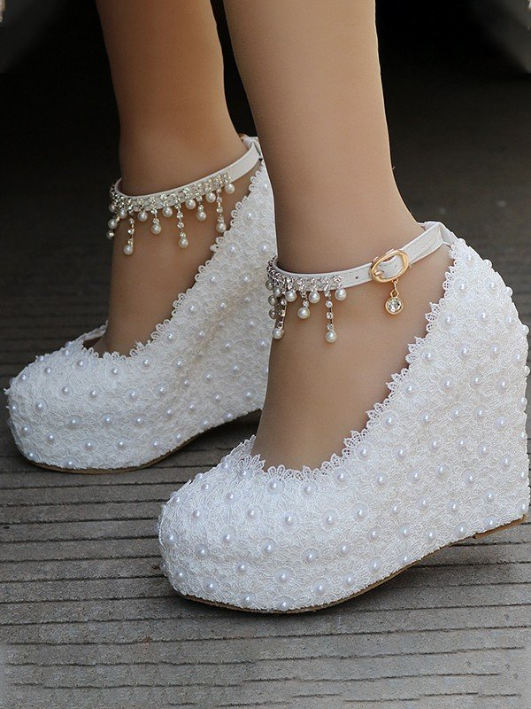 Women's PU Closed Toe Wedge Heel With Beading Wedges Shoes