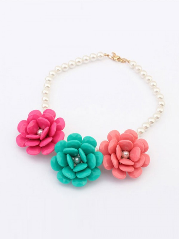 Occident Candy colors Imitation pearls Big Flowers Hot Sale Necklace