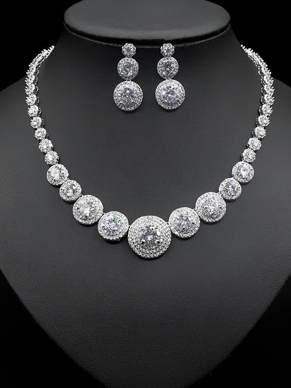 Luxurious Copper With Zircon Jewelry Sets For Women
