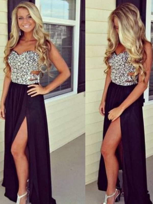 A-Line/Princess Sweetheart Beading Sleeveless Floor-Length Chiffon Dresses