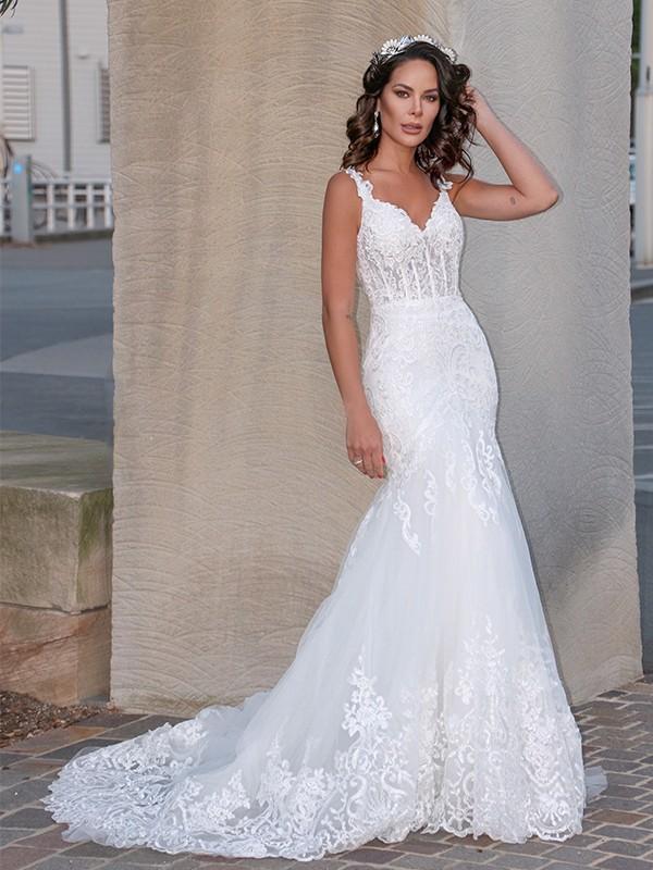 Trumpet/Mermaid Tulle V-neck Sleeveless Applique Sweep/Brush Train Wedding Dresses