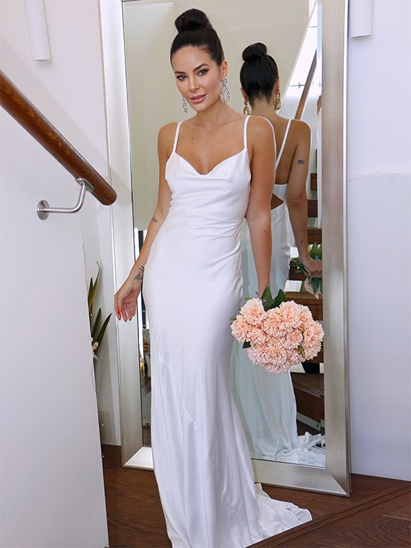 Sheath/Column Spaghetti Straps Charmeuse Sleeveless Ruched Sweep/Brush Train Wedding Dresses