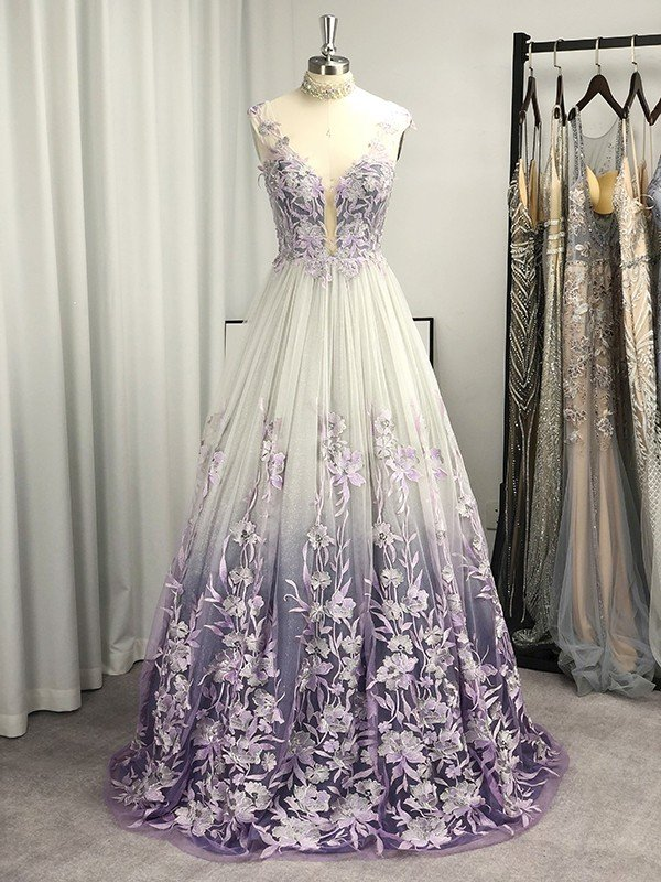 A-Line/Princess V-neck Tulle Applique Sleeveless Floor-Length Dresses