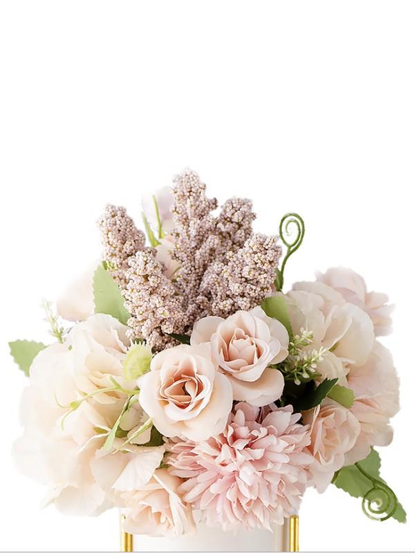 Charming Free-Form Silk Flower Bridal Bouquets