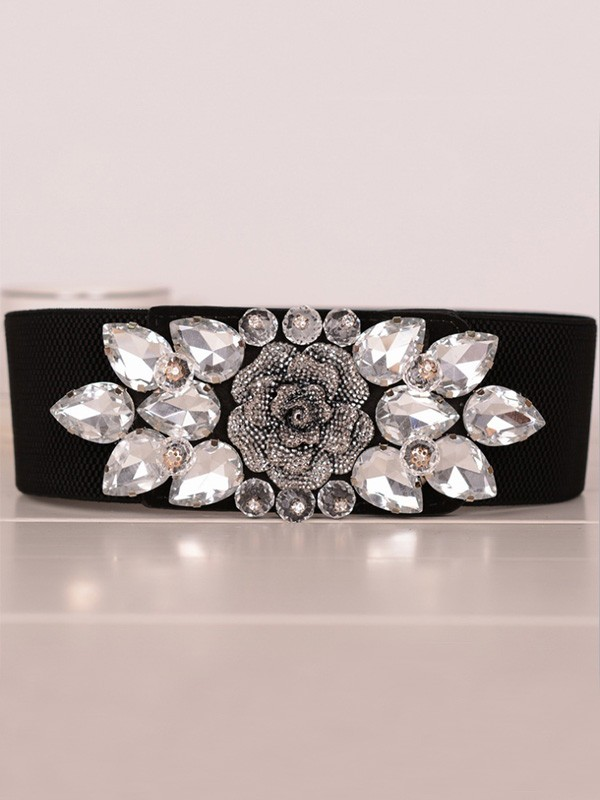 Charming Elastic Rhinestones Sashes With Flower
