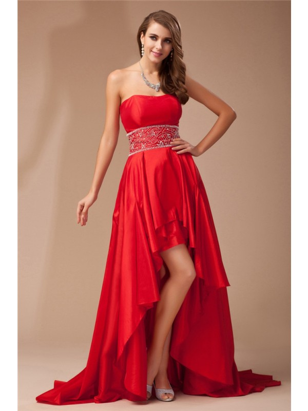 A-Line/Princess Strapless High Low Beading Sleeveless Taffeta Dresses