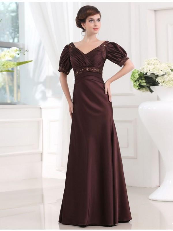 Sheath/Column Beading V-neck 1/2 Sleeves Long Satin Dresses
