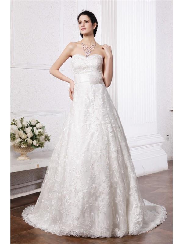 A-Line/Princess Sweetheart Sleeveless Sash Long Lace Wedding Dresses