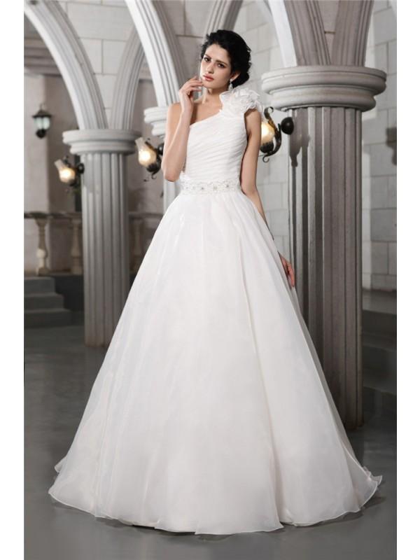 A-Line/Princess One-Shoulder Sleeveless Beading Long Organza Wedding Dresses