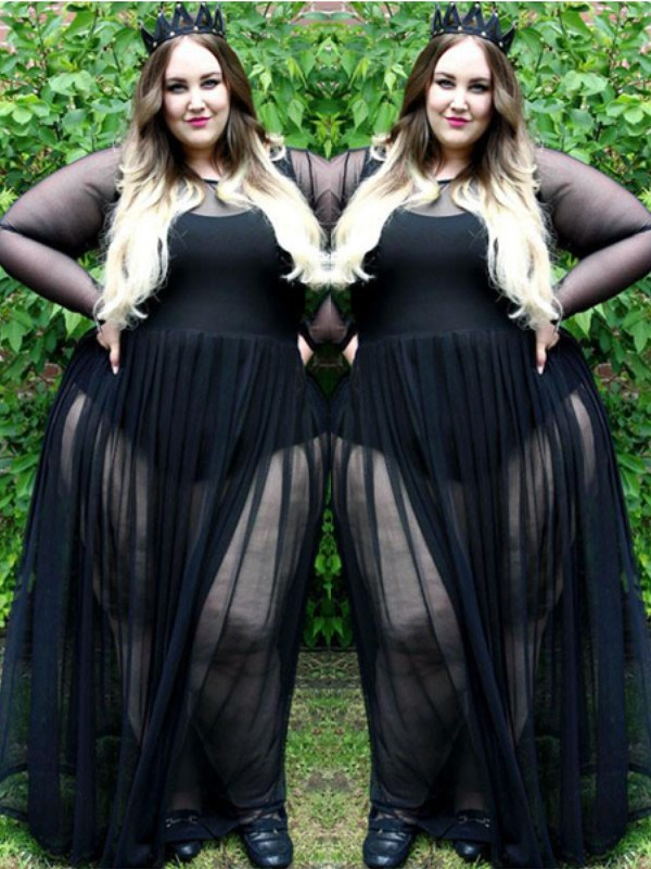 efb31ad3aa2 A-Line Princess Sheer Neck Long Sleeves Ruched Floor-Length Chiffon Plus  Size