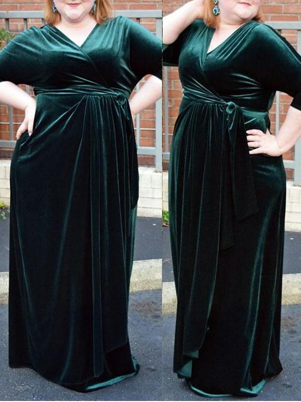 Sheath/Column V-neck 1/2 Sleeves Ruched Floor-Length Velvet Plus Size Dresses