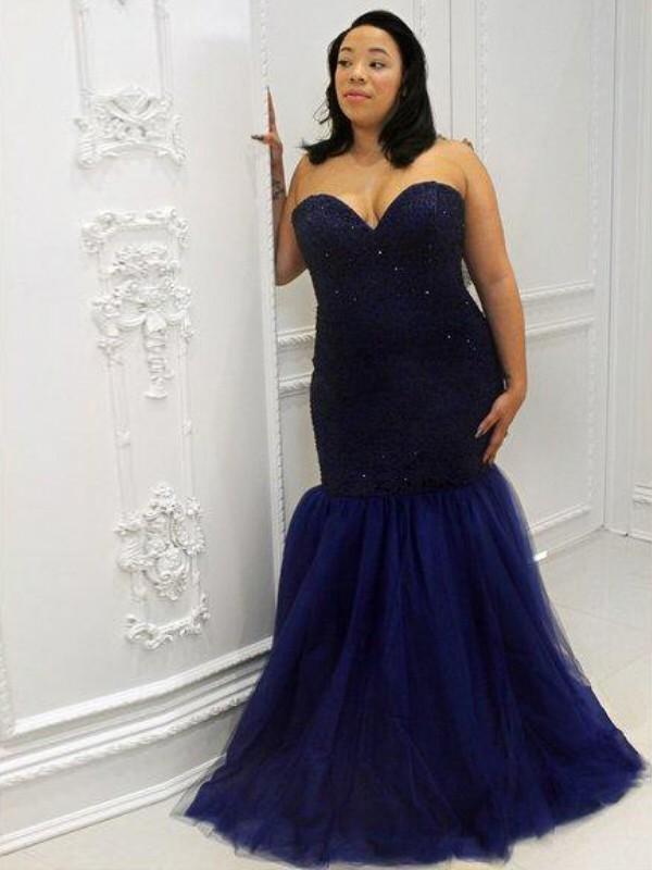 Trumpet/Mermaid Sweetheart Sleeveless Sequin Floor-Length Tulle Plus Size Dresses