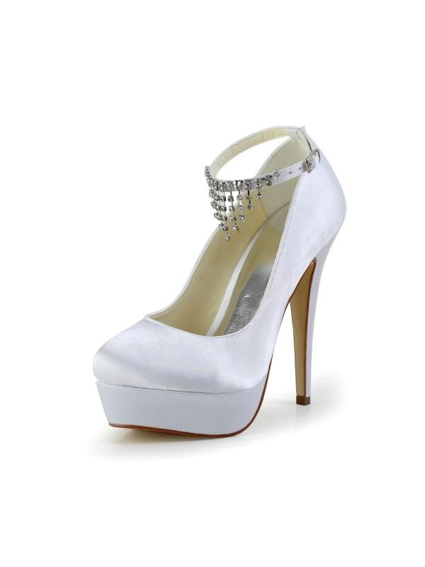 Women's Nice Satin Stiletto Heel Closed Toe With Rhinestone White Wedding Shoes