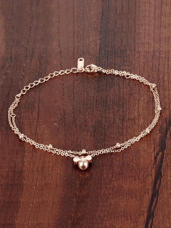 Gorgeous Titanium With Beads Anklets