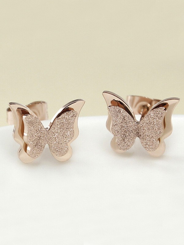 Charming Titanium With Butterfly Earrings