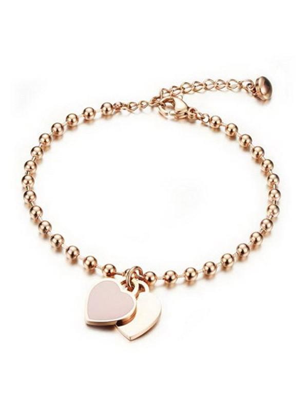 Ladies' Simple Peach Heart Titanium Bracelets