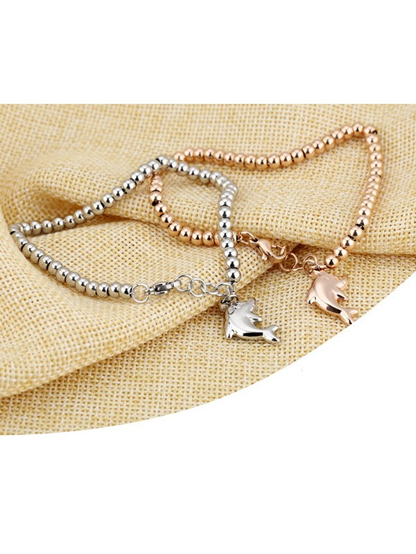 Ladies' Natural Titanium Dolphin Bracelets