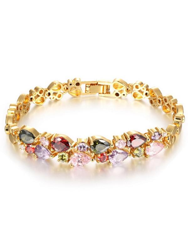 Retro Fashion Women' Copper Rhinestone Bracelets