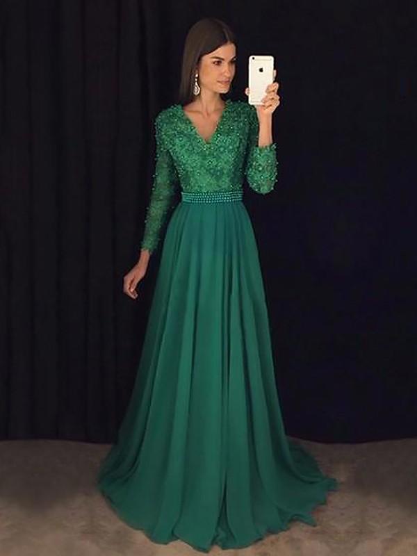 A-Line/Princess V-Neck Long Sleeves Sweep/Brush Train Lace Chiffon Dresses