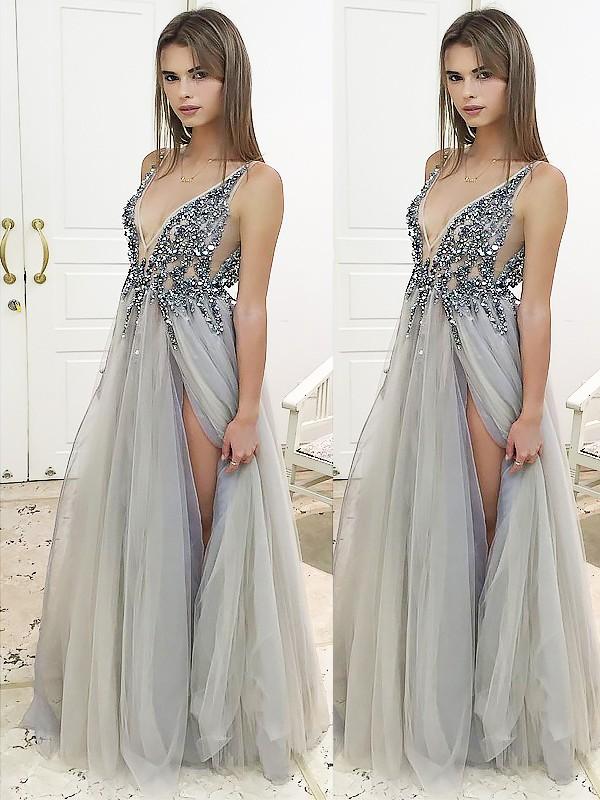 A-Line/Princess V-Neck Sleeveless Floor-Length Beading Tulle Dresses