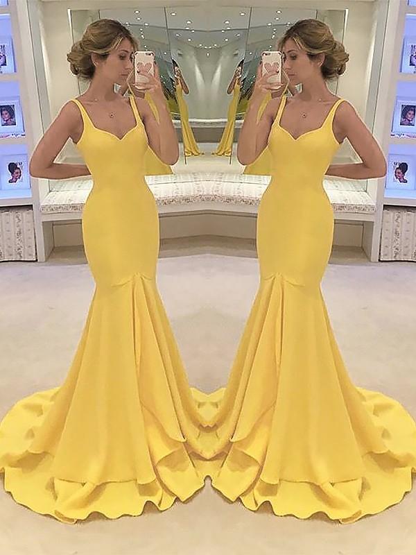 Mermaid Spaghetti Straps Sleeveless Sweep/Brush Train With Layers Satin Dresses
